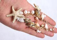 Ocean Multi Starfish Sea Beach Star Conch Shell Pearl Chain Fashion Bracelet Hot