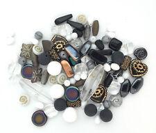 100g Jablonex Vintage Czech Glass Bead Mix Black White Gray