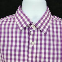Gap Long Sleeve Dress Shirt Mens Size L Purple White Plaid 100% Cotton NON-IRON