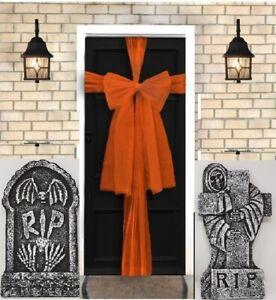 Front Door Bow Orange Halloween Prop Bows Kit 9m Make Decoration Scene Setter
