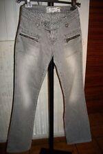 Pantalon coton gris PEPE JEANS siouxie W25 L34 34FR taille basse Poches zip H4