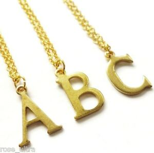 Gold Initial Necklace, Personalised Letter Pendant Dainty Vintage Monogram Charm
