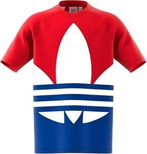 ADIDAS ORIGINALS BIG TREFOIL KIDS TEE Boys T-shirt Red/White/Blue Medium #GE1973