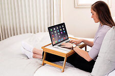 Adjustable Bamboo/White Folding Breakfast In Bed Tray Laptop Notebook Portable