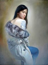 Oil painting portrait Chinese young girl seated with Phoenix Tattoo Hand painted