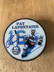 Pat Lafontaine Signed Autograph SGA Puck Logo Promo NY Islanders HOF