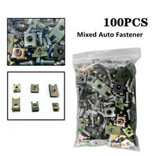 100PCS Car Auto Body Door Panel Fastener Fixed Screw U Type Gasket Fender Clips