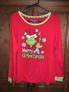 NWOT Grinch Stole Merry Christmas Juniors Night Shirt Pajamas XL 16-18 Red