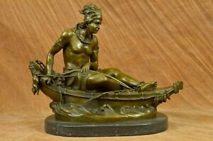 Native American Indian Chief in Canoe Bronze Sculpture Hot Cast Figurine Figure