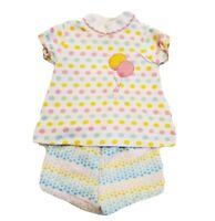 Vintage Baby Girl 3 To 6 Months Casual Outfit Shorts Set Polka Dot Pastel Party