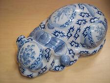 Vintage Macau Chinese Glazed Porcelain Sleeping Cat Handpainted - Very Nice!