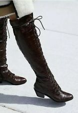 Jeffrey Campbell Free People Brown Lace Up Knee High Croc Joe Boots Size 6