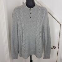 Winter Ted Baker Jumper Knit Wool Cotton Cardigan Long Sleeves Grey Size 6 XXL