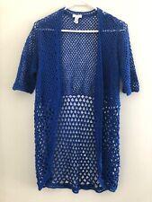 CHICOS Women's Short Sleeve Royal Blue Sweater Sz 2 ( Large Sz 12)