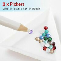 2Pcs Gem Crystal Rhinestones Picker Pencil Nail Art Craft Decor Tool Wax Pen NEW