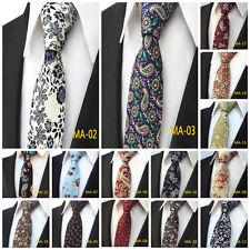 Men's Floral Skinny Cotton Tie Wedding Jacquard Woven Fashion Party Work Necktie