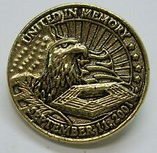 USA 911 Memorial Lapel Pin United in Memory, 4th of July, Ant Gold Plate, NEW