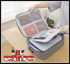 Home Travel Document Organizer With Lock Home Capacity Storage Bag Papers File