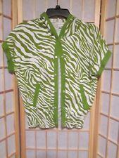 Jones New York Sport Women's Zebra Print Snap Close Hoodie Green White Sz M