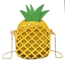 Pineapple Fruit Cute Shoulder Crossbody Bag Small Yellow PU Leather Korean Style