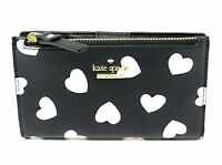 Kate Spade Cameron Streel Hearts Mikey Black Cream Leather Wallet PWRU7014