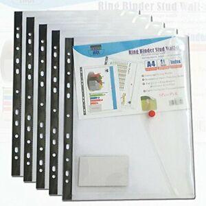 A4 Ring Binder Polypropylene Popper Wallet with Press Stud - Clear PK-5