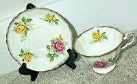 Antique Paragon Bone China England Teacup Saucer Gold Yellow Pink Rose 1940-50