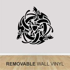 "Wall Vinyl -  CELTIC DRAGON WEAVE   - 24"" x 24"" -  Removable Black Decal"