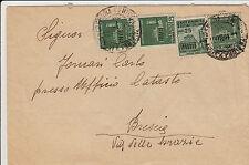RSI-25c (tre 497+505) GEMELLI - Busta viaggiata Alessandria->Brescia 19.12.1944
