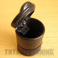 Car Portable Ashtray for Auto Cup Holder - Black - Lid on Top - Universal