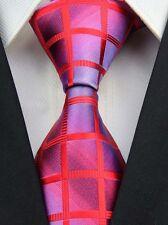 CS030 Red Purple Check Classic JACQUARD Woven Silk Mens Tie Necktie Wedding