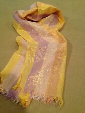 """Iridescent Colored Scarf with Gold Specs Throughout, Made In India,56x12"""", New"""