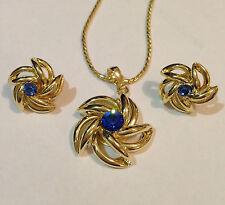 14k ct Gold Filled GF  Flower Design Women's Set  Blue Stone ZC - 2-piece set