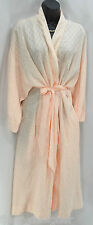 Vtg Christian Dior Long Satin Pale Rose Robe embroidered SILKY Lougewear L XL