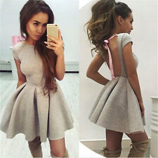 Womens Sexy Short Sleeve Backless Summer Bandage Party Cocktail Mini Dress Black