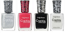 4-Pack NEW Sally Hansen Crackle Overcoat Nail Polish in Pink Black White Silver