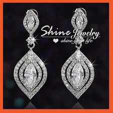 18K WHITE GOLD FILLED SIMULATED DIAMOND CT WEDDING DANGLE ANTIQUE WOMENS EARRING