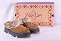Women's Skechers Shindigs- Fortress Faux Fir Lined Mules Chestnut