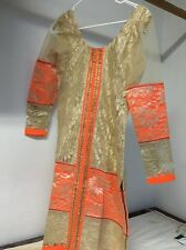 Punjabi Suit Neon Color Orange And Beige