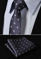 "TD1002A5 Gray Polka Dot 2.17"" Slim Skinny Narrow Tie Necktie Pocket Square"