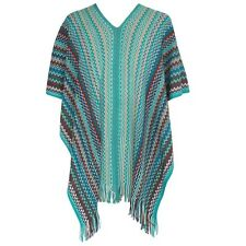 MISSONI ORANGE LABEL green blue zig zag stripe knit wool-blend poncho jacket NEW