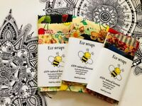 Organic Beeswax food Wraps, PACK OF THREE large/Medium/small. Save The earth