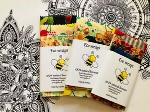 Organic Beeswax food Wraps PACK OF THREE!  PLUS FREE WRAPlarge/Medium/small
