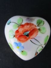 Limoges Floral Pattern - Heart Shaped Trinket Box - Unusual Find