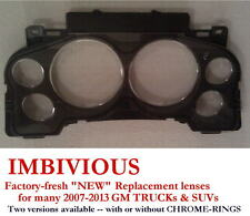 CHEV 2007-2013 -- NEW Instrument Cluster replacement lens - WITH CHROME RINGS