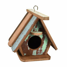 Handcrafted Pastel Bird House Wood Hanging Decor