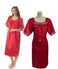 Ladies Satin Nightdress Chemise Nightie Nightshirt with Short Sleeve Plus Size