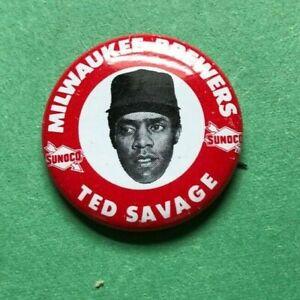 1969  TED SAVAGE  Sunoco Baseball Pin Back Button  Brewers