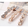 Women Hair Barrette Clip Pearl Diamante Crystal French Hairpins Headdress