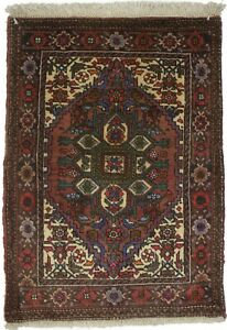 2X3 Floral Classic Vintage Small Oriental Rug Decor Hand-Knotted Carpet 1'8X2'7